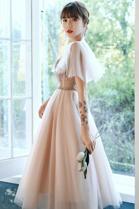 Flying Sleeve Midi Dresses, Champagne Bridesmaid Dresses, Graduation Dresses,Custom Made