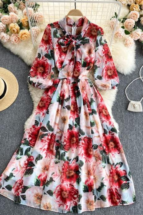 Summer, catwalk style, big swing long DRESS, floating belt, waist swing, floral chiffon dress