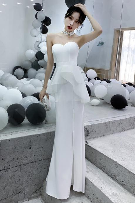 Mermaid evening dress, new style, sexy strapless prom dress, slit long party dress,Custom Made