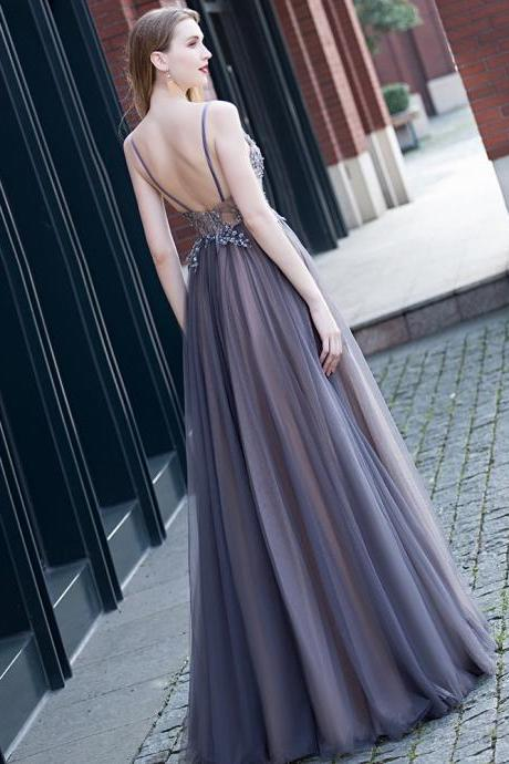 Elegant, sexy evening dress, purple spaghetti trap dress, grand party dress,Custom Made
