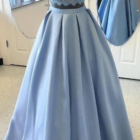 Sale Blue Ball Gown Evening Prom Dresses Comfortable Two Piece Halter Evening Dresses With Lace Zipper Dresses