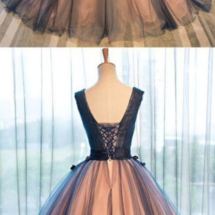 Gown Prom Dresses, Brown Ball Gown Evening Dresses, Gown Long Evening Dresses, Pretty tulle v-neck applique A-line long evening dresses ,ball gown prom dress