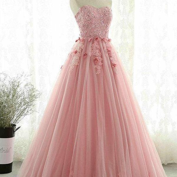 Sweetheart party dress, Blush Pink Lace tull prom dress,modest Evening dress
