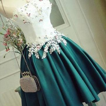 A-LINE STRAPLESS SATIN HOMECOMING DRESS DARK GREEN SHORT PROM DRESS