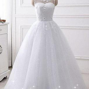 New design white tulle A-line wedding dress with lace appliqué,sleeve prom dresses
