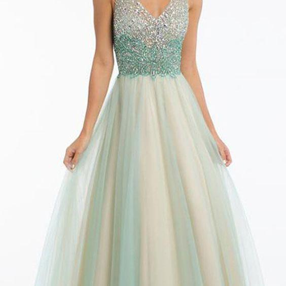 Tulle V-neck Party Dress, A-line Prom Dress With Beading,Custom Made,Party Gown,Cheap Prom Dress