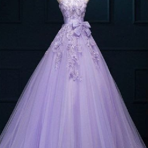 New Arrival Ball Gown Floor-length Luxury Appliques Wedding Dresses, purple tulle A-line prom dresses