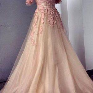 Lace Short Sleeve ,Tulle Prom Dresses,Long Prom Dresses,Cheap Prom Dresses,Lace Evening Dress ,Prom Gowns