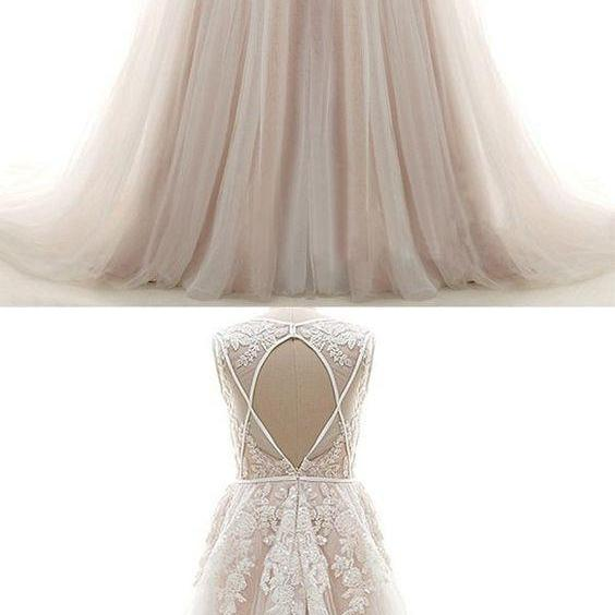 Fashion Simple Wedding Dresses , Sleeveless Modest Lace Bridal Gowns for Wedding