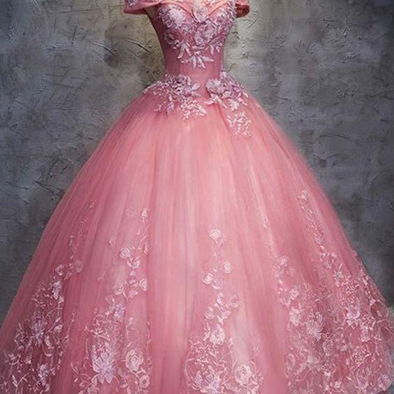 off shoulder Ball Gown Off-the-Shoulder evening dress Tulle Wedding Dress With Appliques