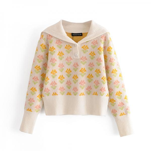 Women's printed knit cardigan top for autumn