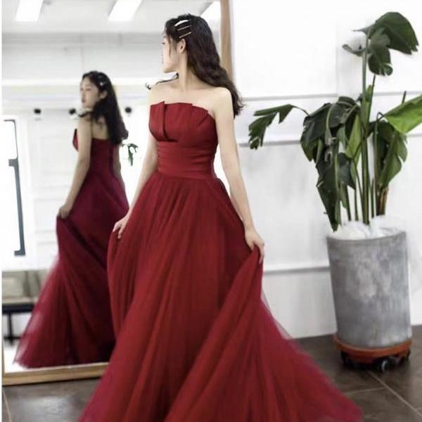 Strapless prom dress,red party dress,charming wedding dress,custom made